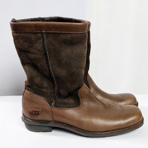 Ugg Brown Leather Suede Upper Boots Size 6